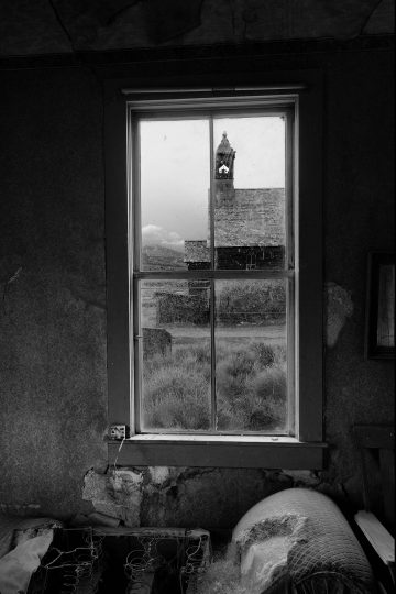 View of church from window in Bodi, California ghost town