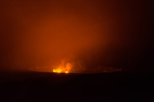Hawaii Kilauea crater molten lava at night