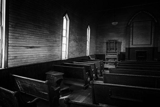 Old church interior in Bodi, California ghost town