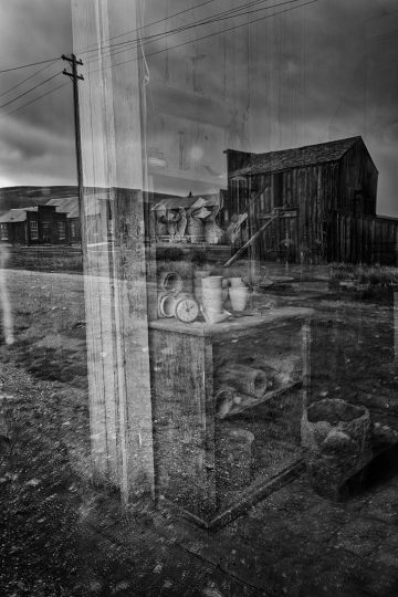 Street scene with reflections in Bodi, California ghost town