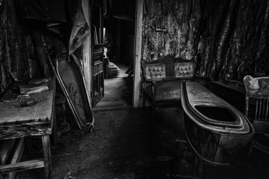 Funeral parlor with coffin in Bodi, California ghost town