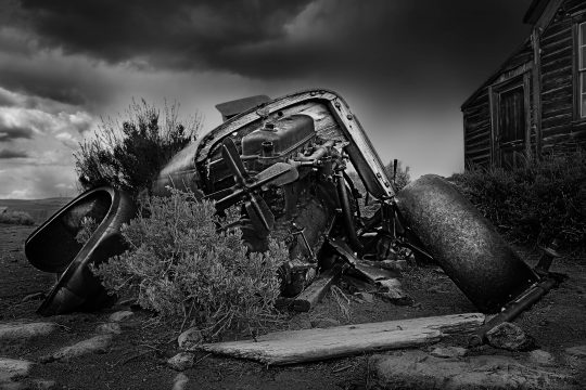 Old wrecked car in Bodi, California ghost town