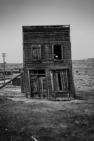 Old leaning building in Bodi, California ghost town