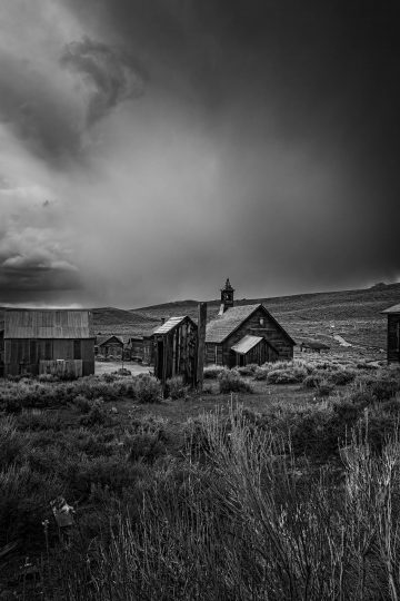 Bodie, California ghost town buildings with clouds