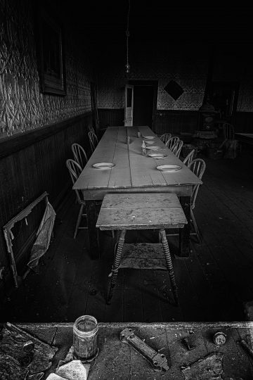 Long dining table in Bodi, California ghost town
